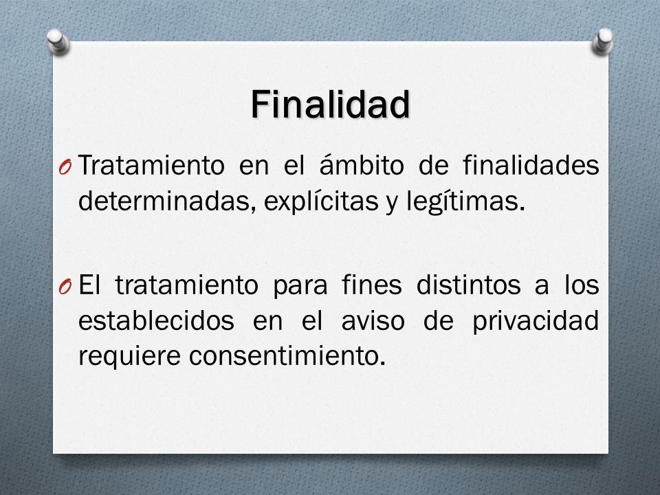 Finalidad Tratamiento en el ámbito de finalidades determinadas, explícitas y legítimas.