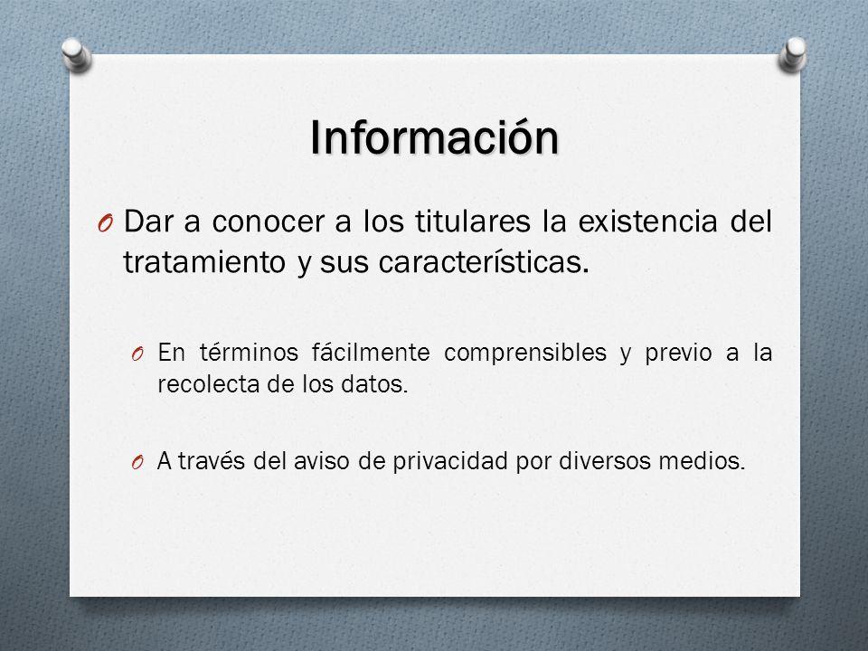Información Dar a conocer a los titulares la existencia del tratamiento y sus características.
