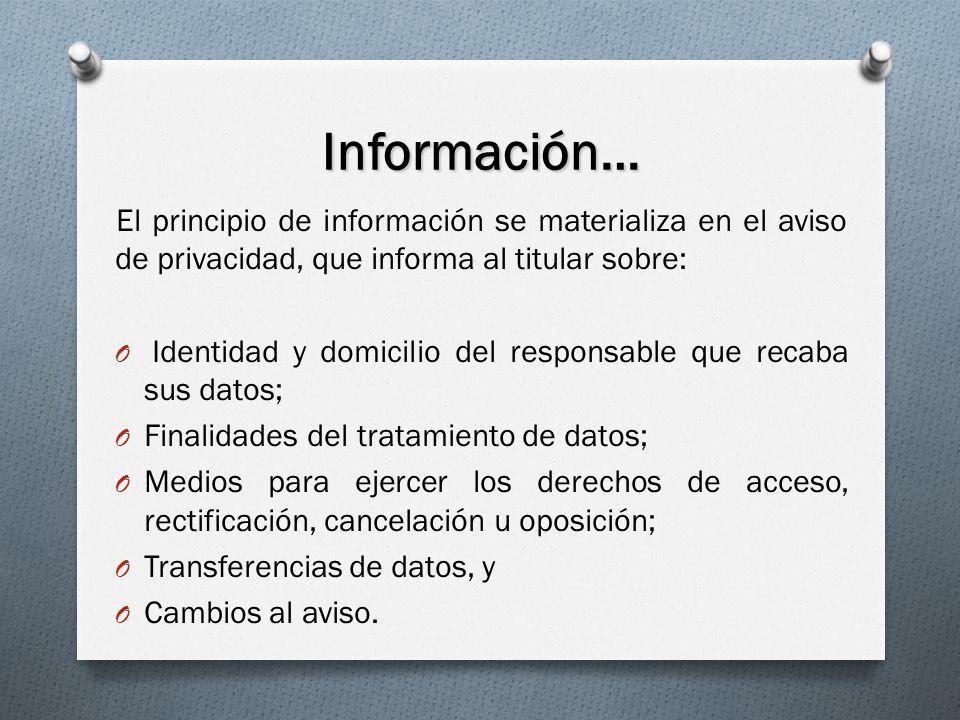 Información… El principio de información se materializa en el aviso de privacidad, que informa al titular sobre: