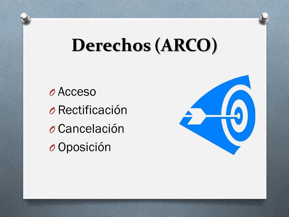 Derechos (ARCO) Acceso Rectificación Cancelación Oposición