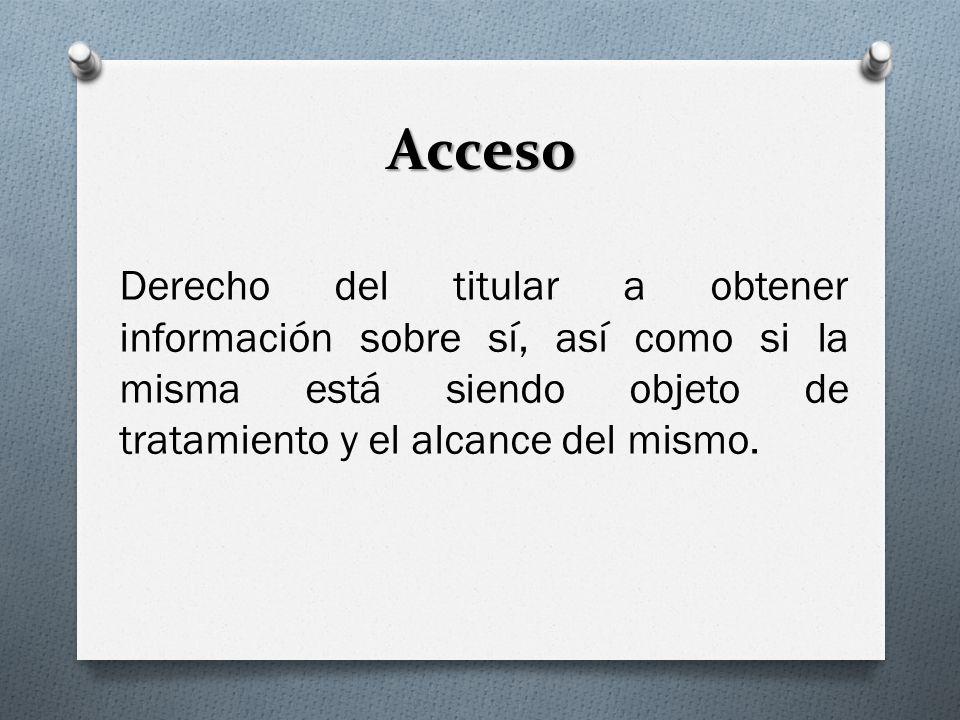 Acceso Derecho del titular a obtener información sobre sí, así como si la misma está siendo objeto de tratamiento y el alcance del mismo.