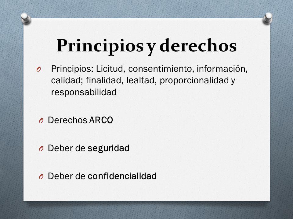 Principios y derechos Principios: Licitud, consentimiento, información, calidad; finalidad, lealtad, proporcionalidad y responsabilidad.