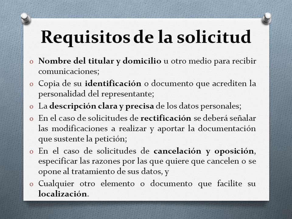 Requisitos de la solicitud