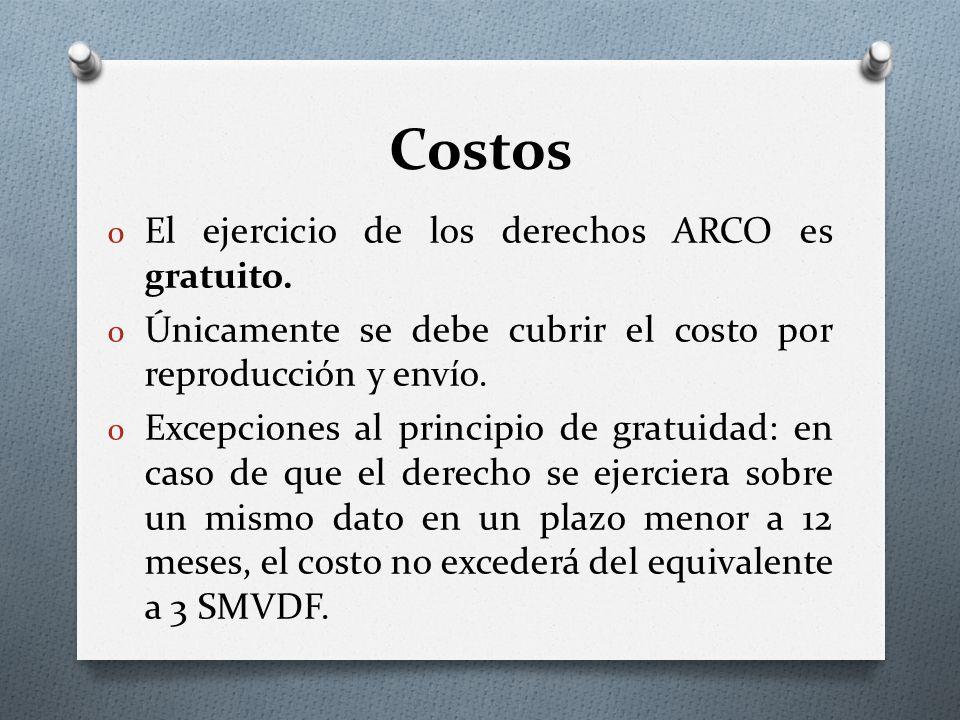 Costos El ejercicio de los derechos ARCO es gratuito.