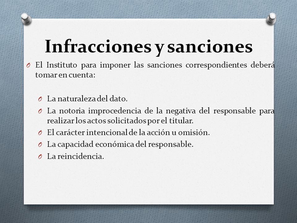 Infracciones y sanciones