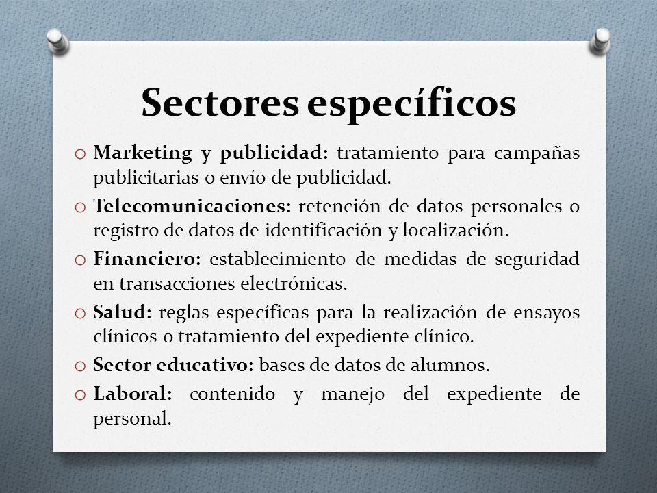 Sectores específicos Marketing y publicidad: tratamiento para campañas publicitarias o envío de publicidad.
