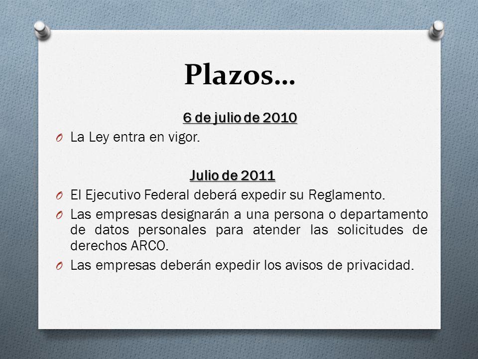 Plazos… La Ley entra en vigor. Julio de 2011