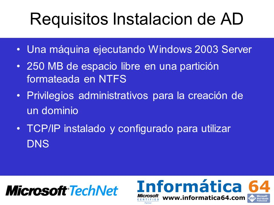 Requisitos Instalacion de AD