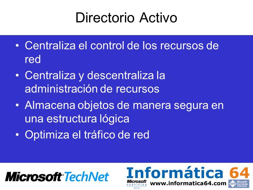 Directorio Activo Centraliza el control de los recursos de red