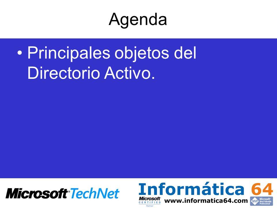 Agenda Principales objetos del Directorio Activo.