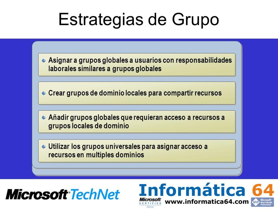 Estrategias de GrupoAsignar a grupos globales a usuarios con responsabilidades laborales similares a grupos globales.