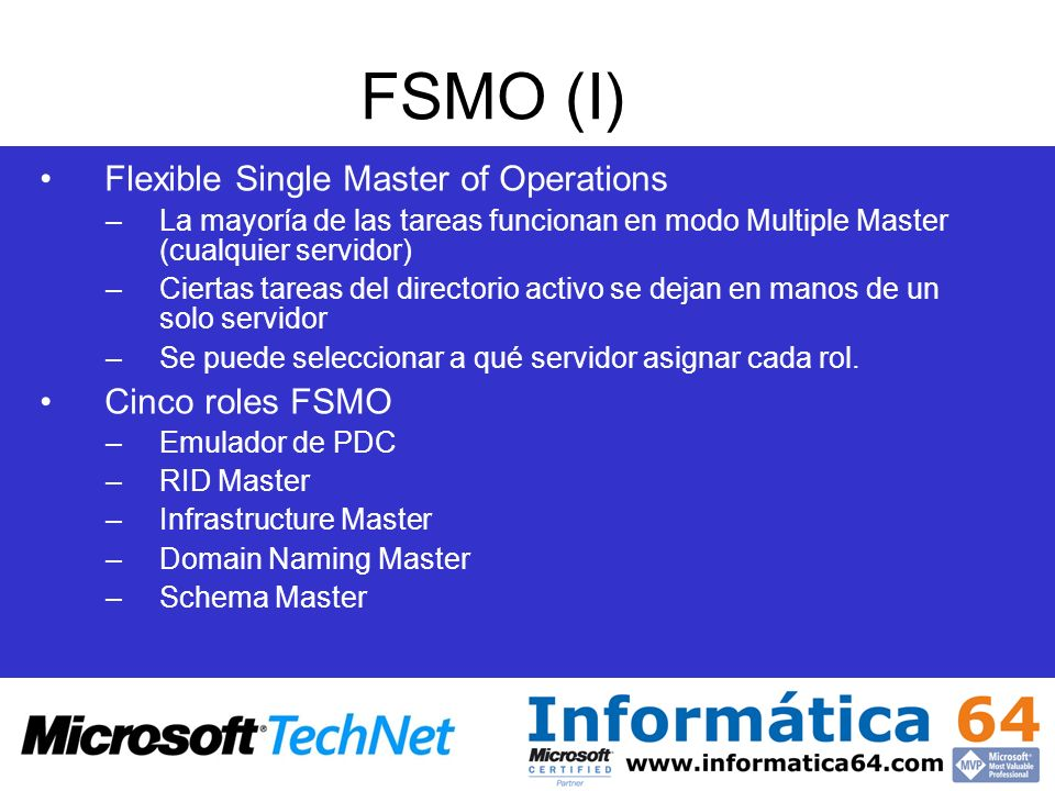 FSMO (I) Flexible Single Master of Operations Cinco roles FSMO