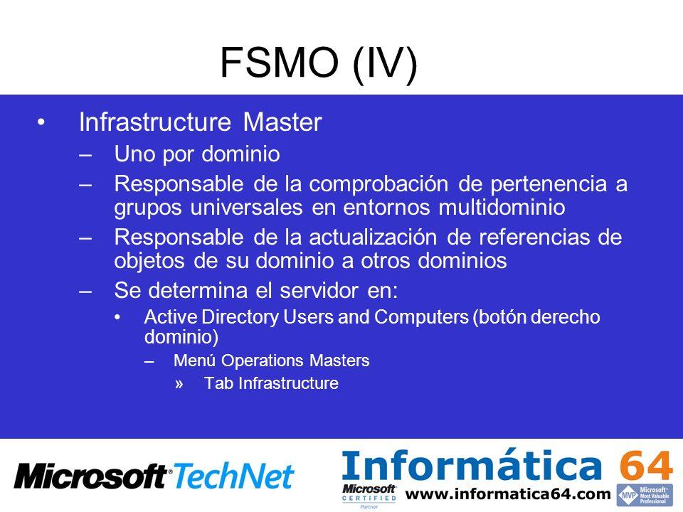 FSMO (IV) Infrastructure Master Uno por dominio
