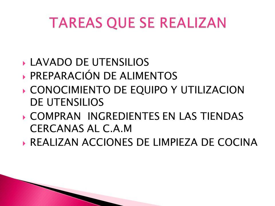 TAREAS QUE SE REALIZAN LAVADO DE UTENSILIOS PREPARACIÓN DE ALIMENTOS