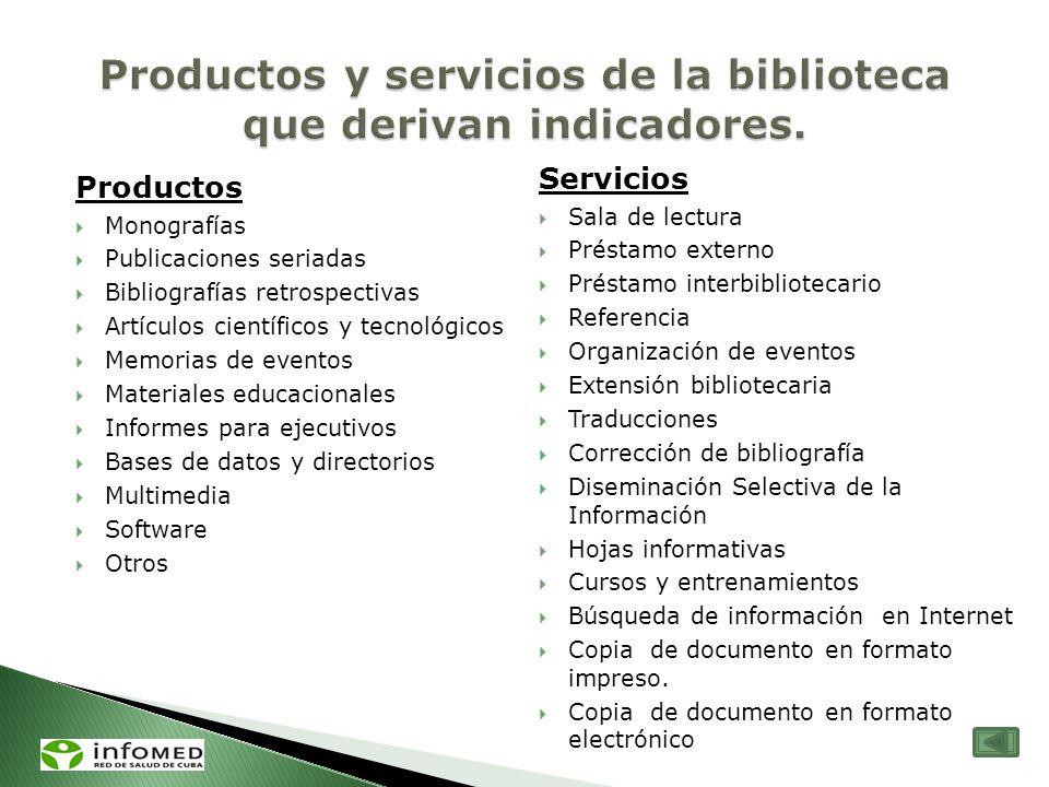 Productos y servicios de la biblioteca que derivan indicadores.