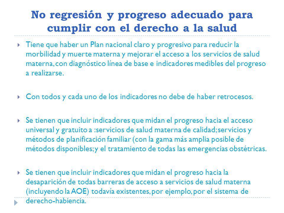 No regresión y progreso adecuado para cumplir con el derecho a la salud