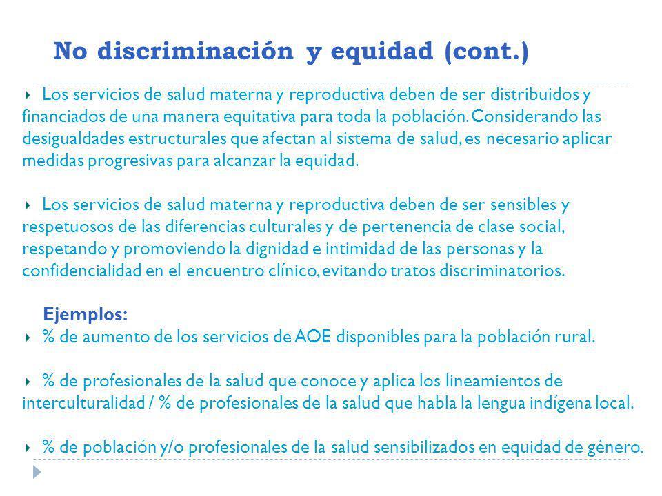 No discriminación y equidad (cont.)