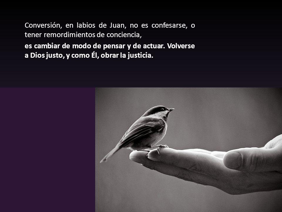 Conversión, en labios de Juan, no es confesarse, o tener remordimientos de conciencia, es cambiar de modo de pensar y de actuar.