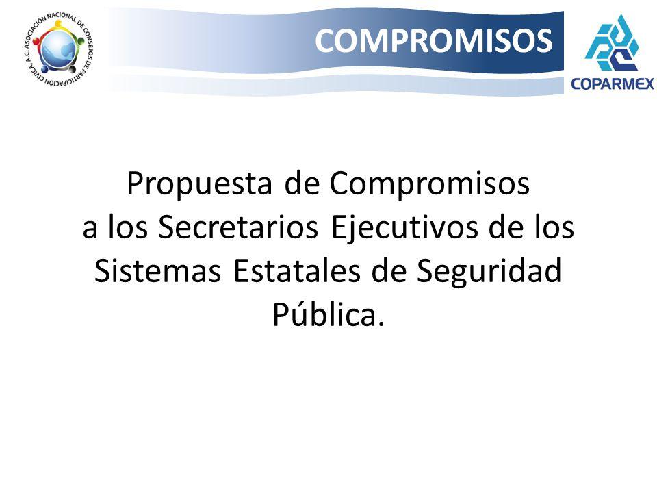 COMPROMISOS Propuesta de Compromisos a los Secretarios Ejecutivos de los Sistemas Estatales de Seguridad Pública.