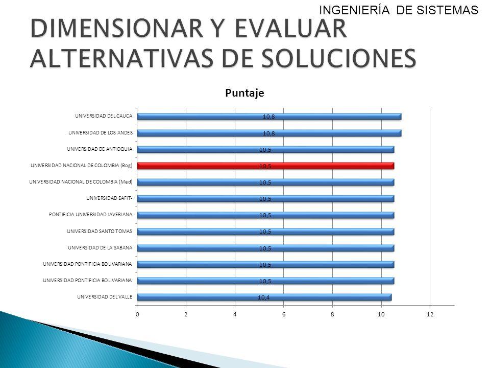 DIMENSIONAR Y EVALUAR ALTERNATIVAS DE SOLUCIONES