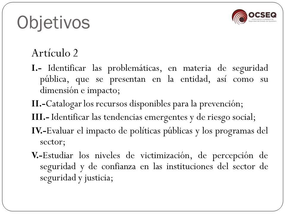 Objetivos Artículo 2.