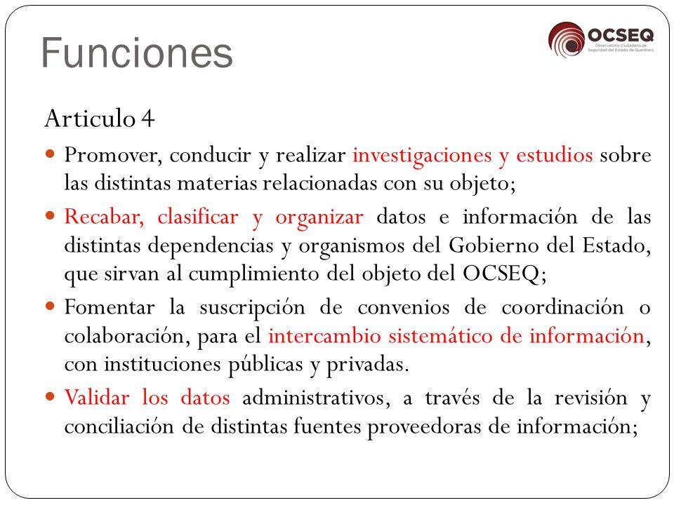 Funciones Articulo 4. Promover, conducir y realizar investigaciones y estudios sobre las distintas materias relacionadas con su objeto;
