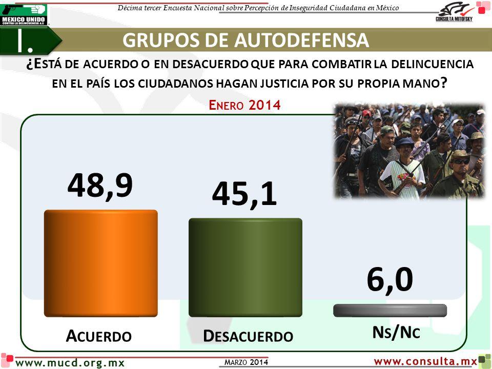 I. GRUPOS DE AUTODEFENSA Ns/Nc Acuerdo Desacuerdo