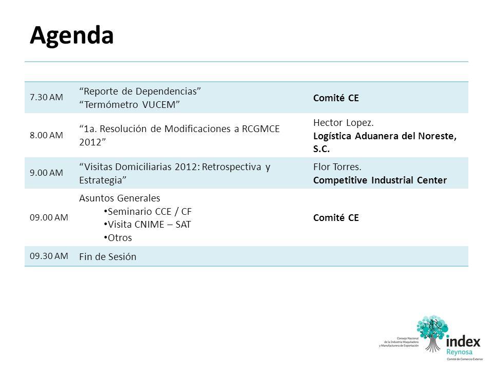 Agenda Reporte de Dependencias Termómetro VUCEM Comité CE