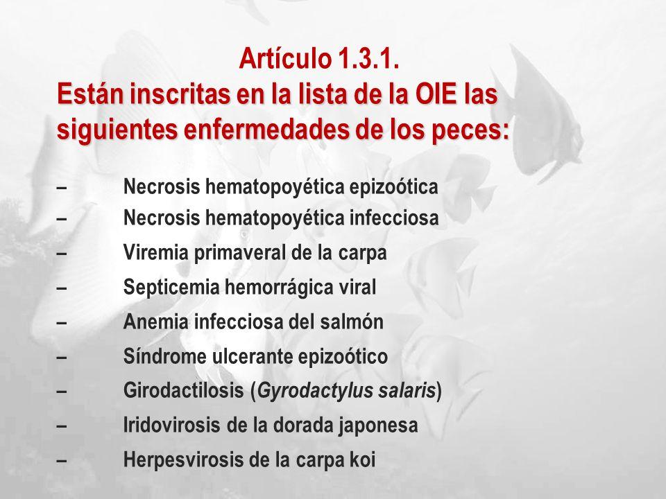 Artículo 1.3.1. Están inscritas en la lista de la OIE las siguientes enfermedades de los peces: – Necrosis hematopoyética epizoótica.