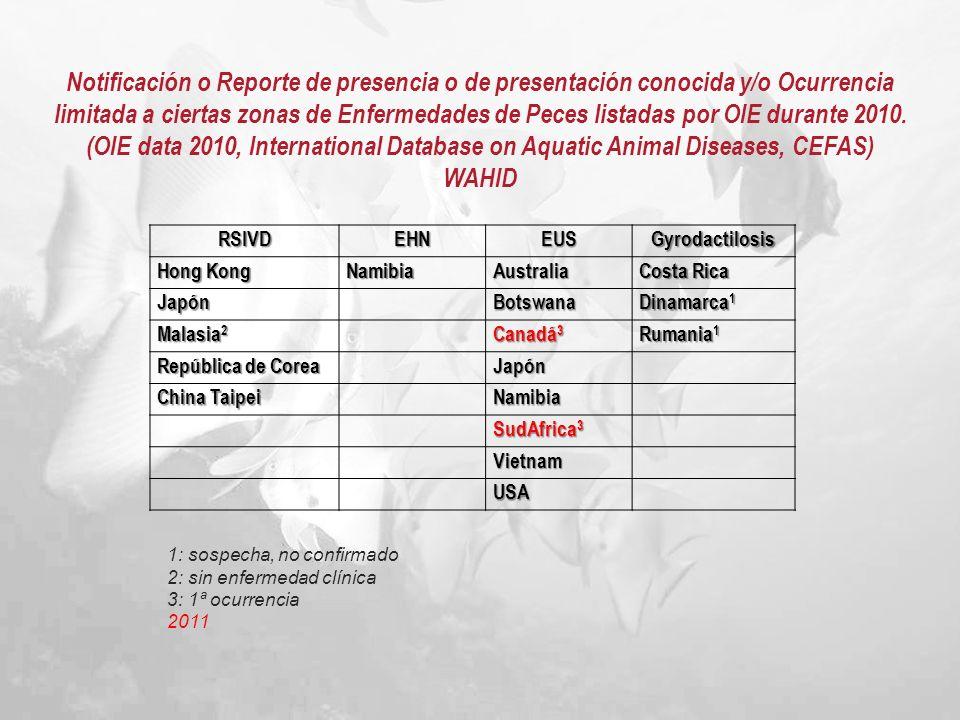 Notificación o Reporte de presencia o de presentación conocida y/o Ocurrencia limitada a ciertas zonas de Enfermedades de Peces listadas por OIE durante 2010.