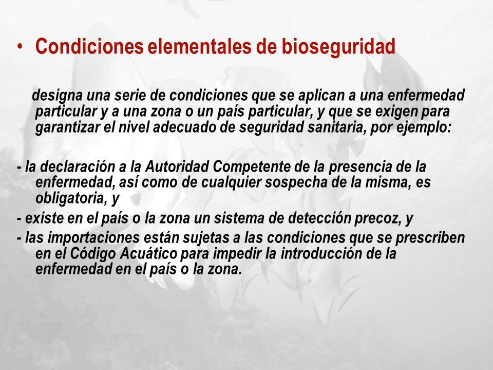 Condiciones elementales de bioseguridad