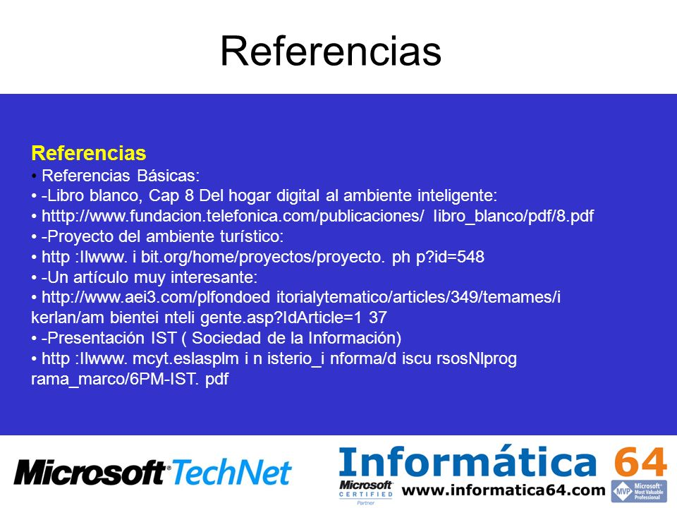 Referencias Referencias • Referencias Básicas: