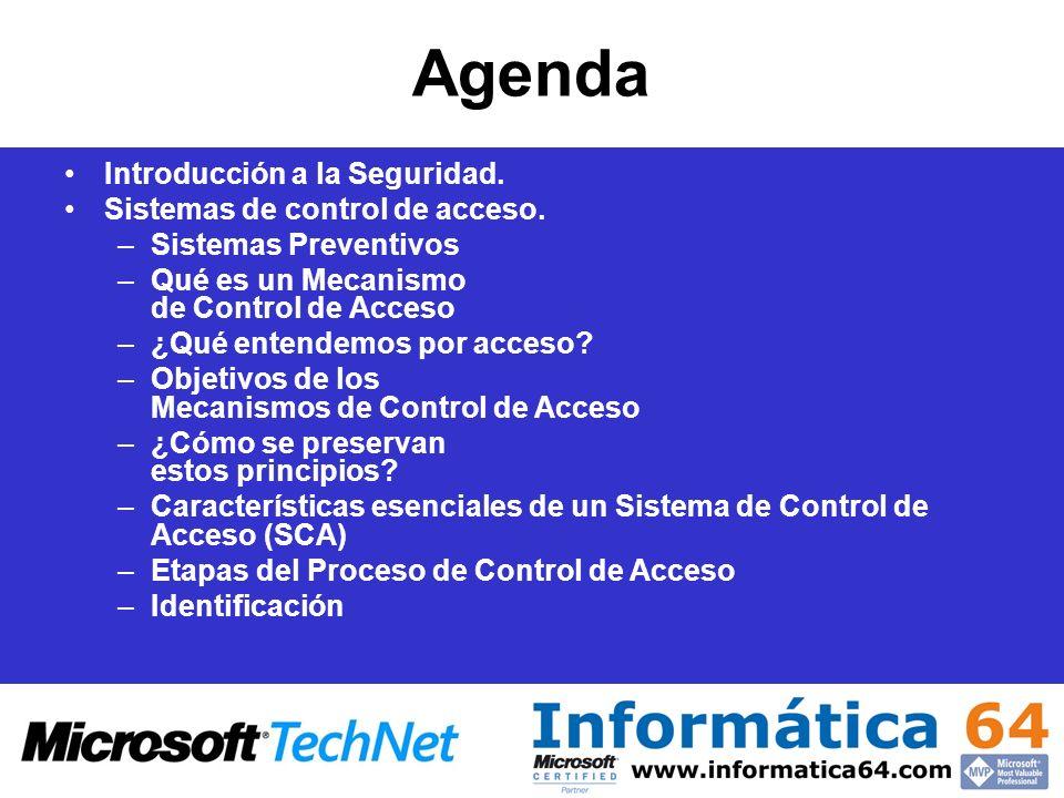 Agenda Introducción a la Seguridad. Sistemas de control de acceso.