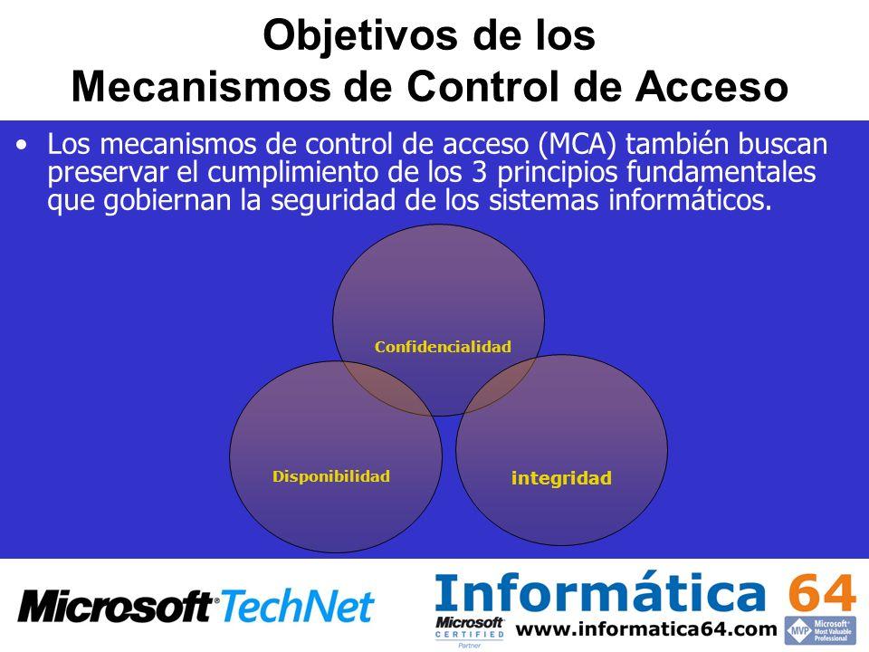 Objetivos de los Mecanismos de Control de Acceso