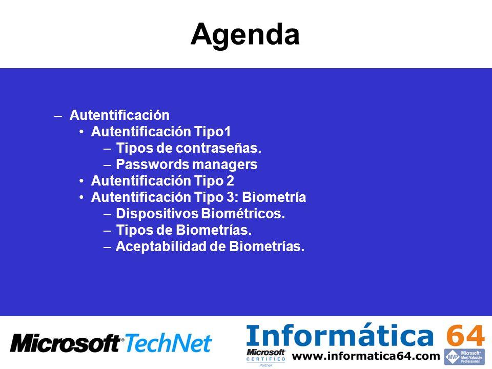Agenda Autentificación Autentificación Tipo1 Tipos de contraseñas.