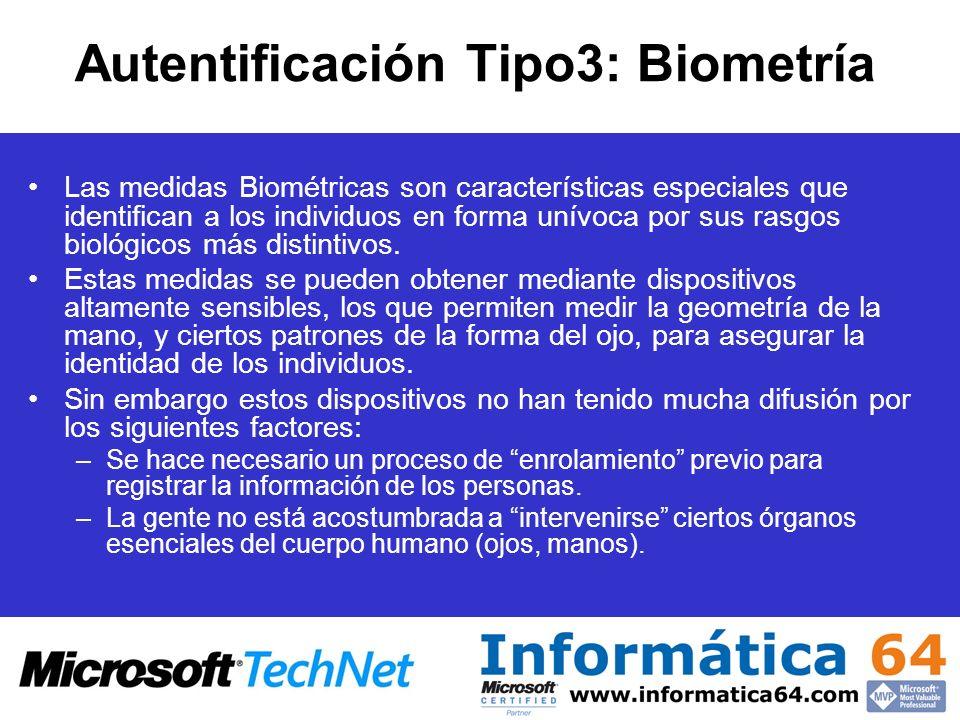 Autentificación Tipo3: Biometría