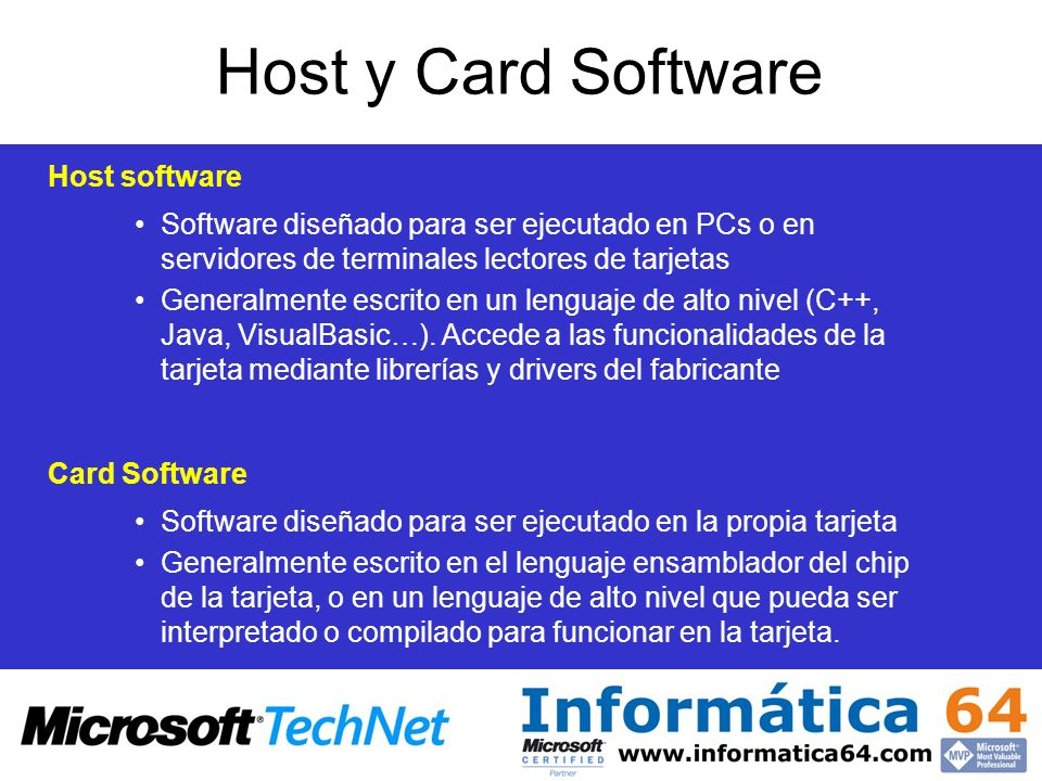 Host y Card Software Host software