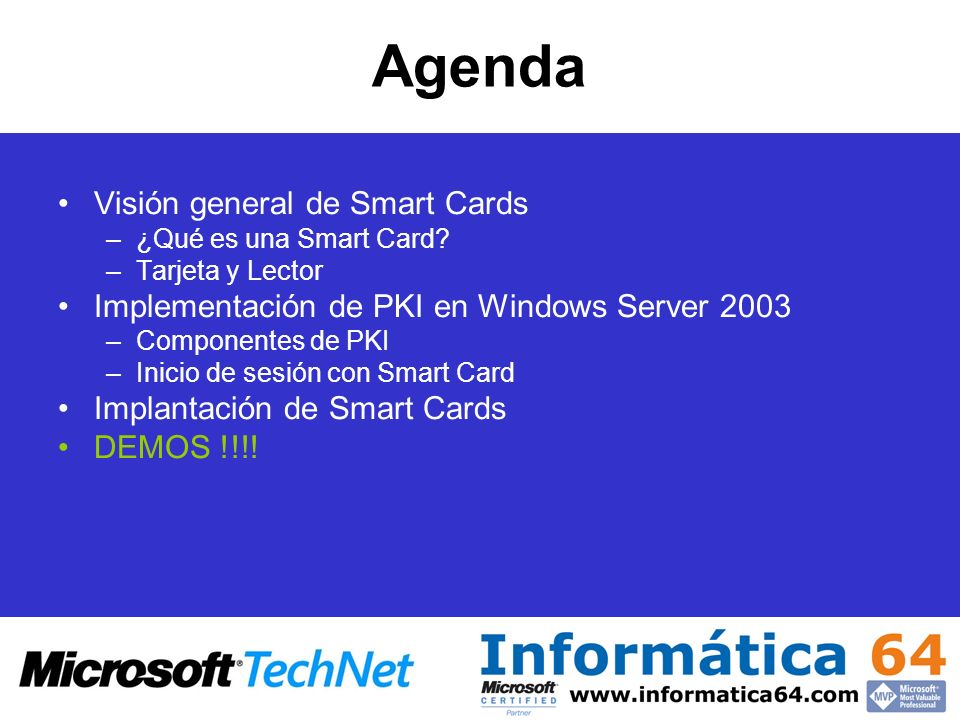 Agenda Visión general de Smart Cards