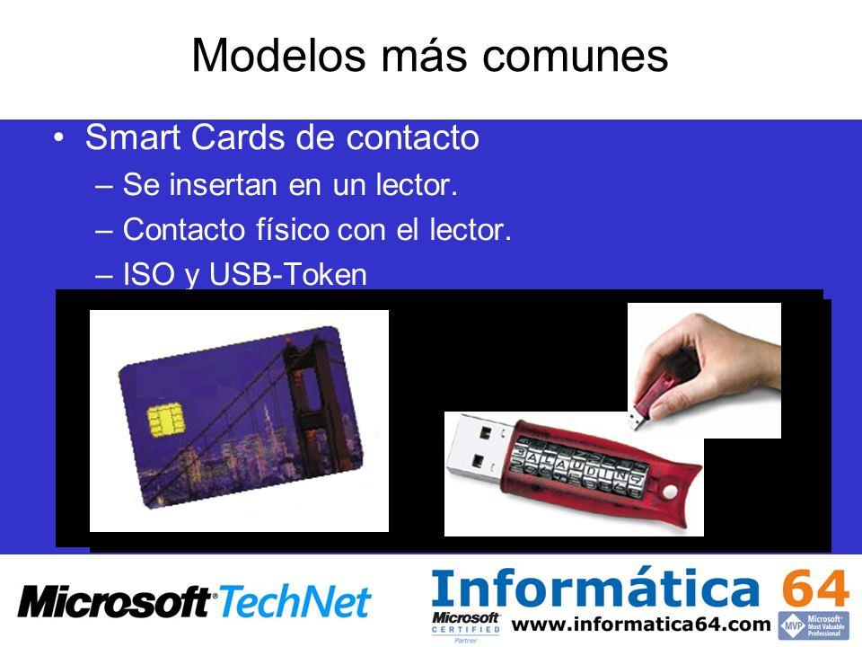 Modelos más comunes Smart Cards de contacto Se insertan en un lector.