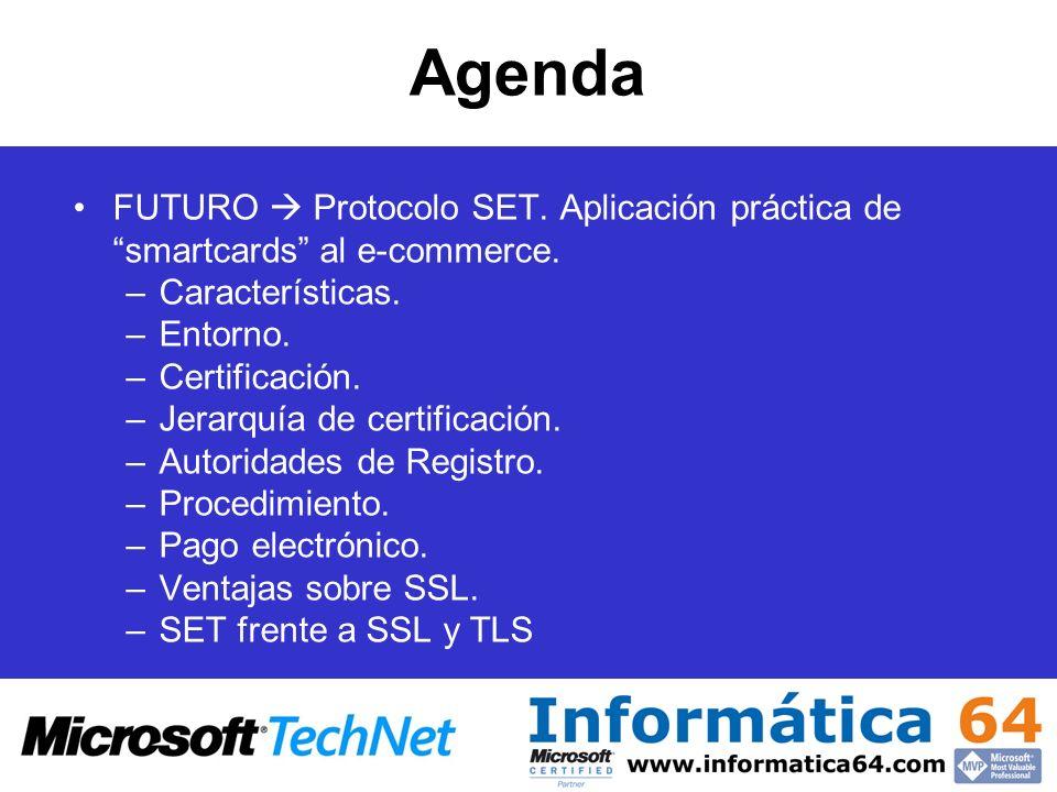 AgendaFUTURO  Protocolo SET. Aplicación práctica de smartcards al e-commerce. Características. Entorno.