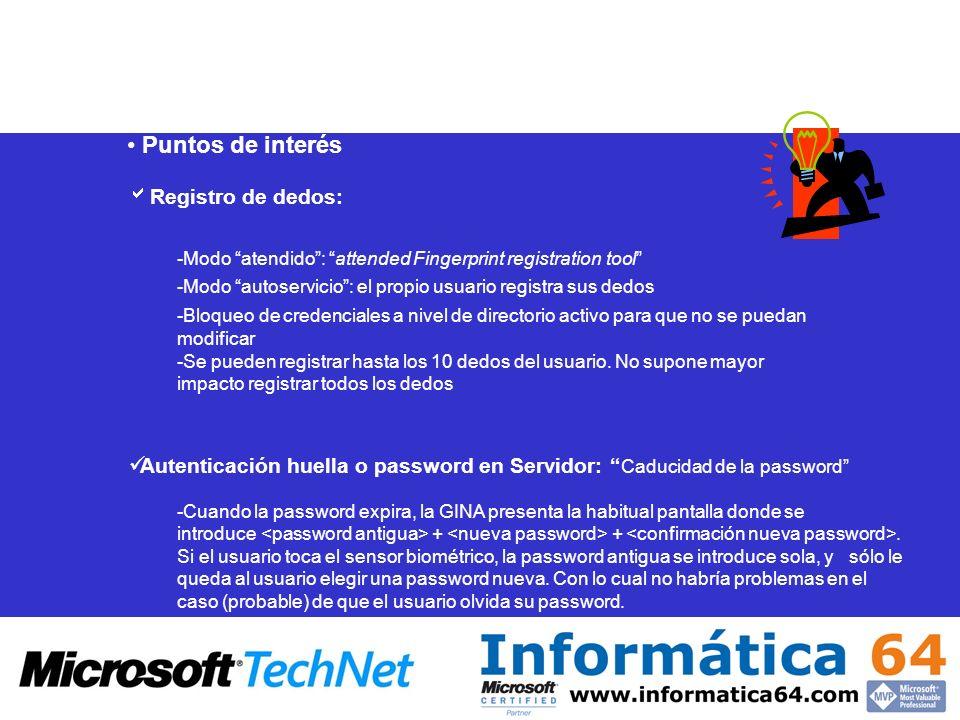Puntos de interésRegistro de dedos: -Modo atendido : attended Fingerprint registration tool