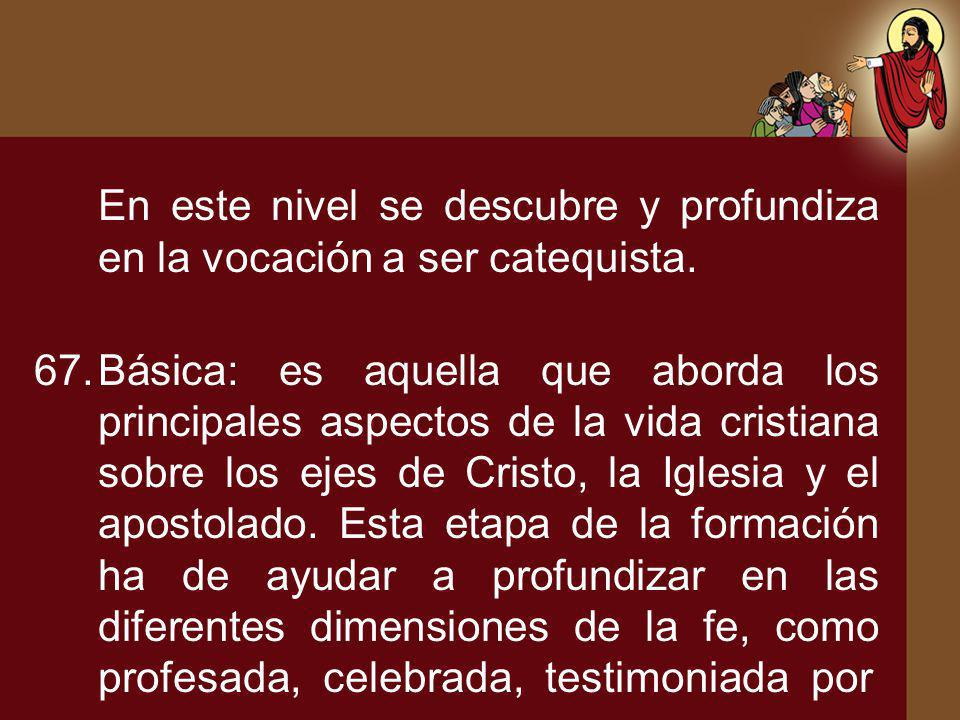 En este nivel se descubre y profundiza en la vocación a ser catequista.