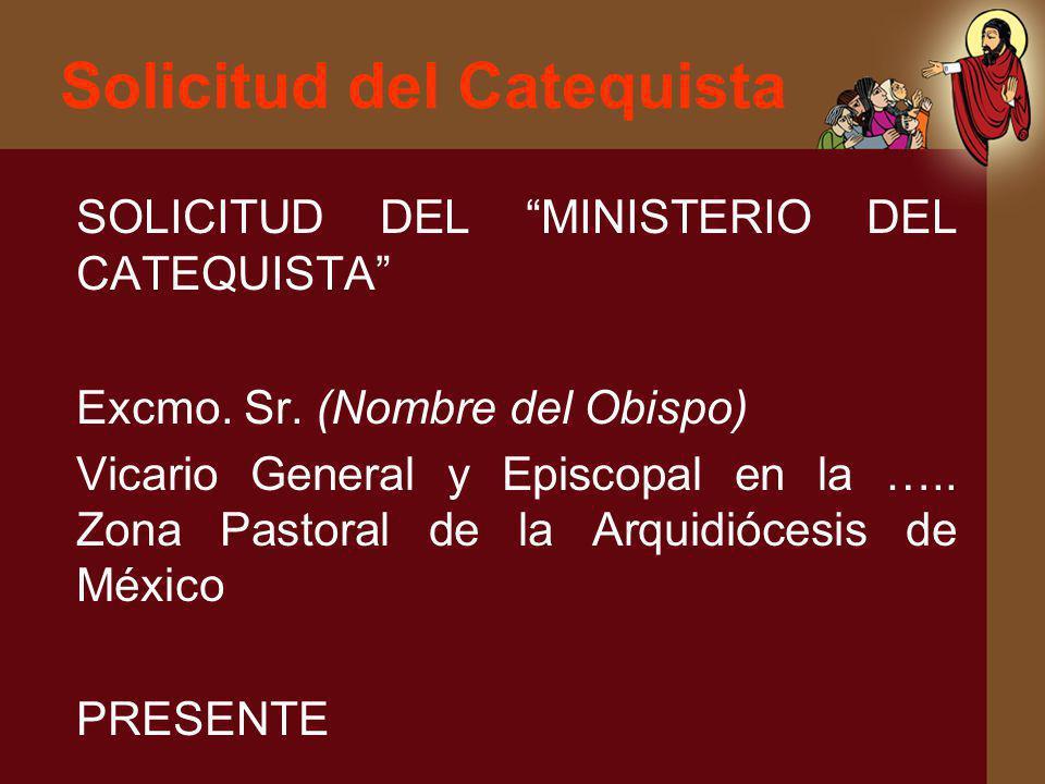 Solicitud del Catequista