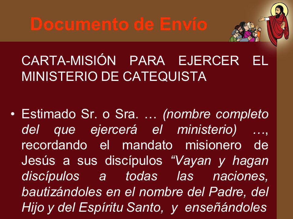 Documento de Envío CARTA-MISIÓN PARA EJERCER EL MINISTERIO DE CATEQUISTA.