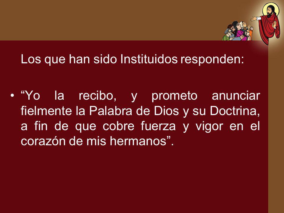 Los que han sido Instituidos responden: