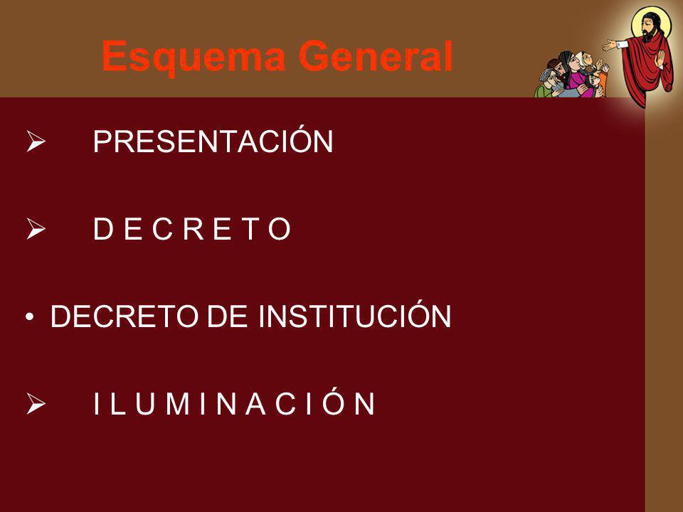 Esquema General PRESENTACIÓN D E C R E T O DECRETO DE INSTITUCIÓN