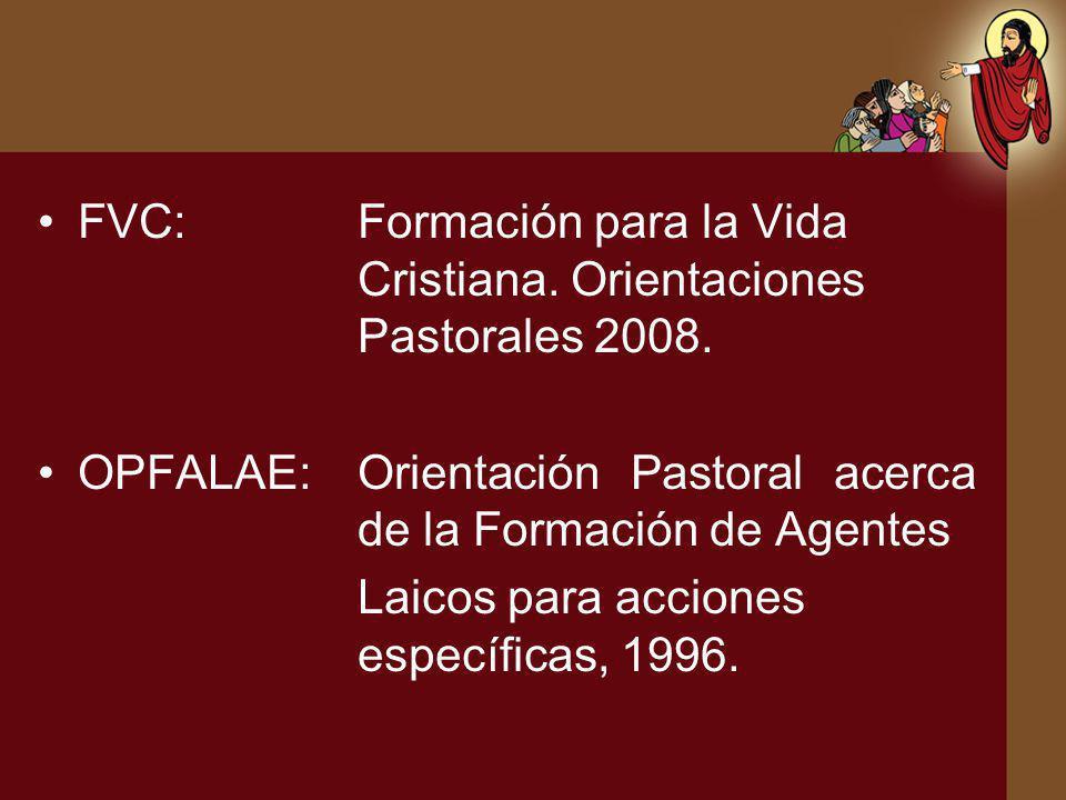 FVC: Formación para la Vida Cristiana. Orientaciones Pastorales 2008.
