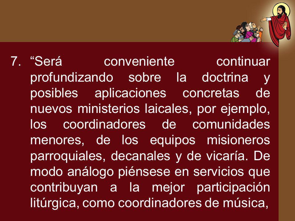 Será conveniente continuar profundizando sobre la doctrina y posibles aplicaciones concretas de nuevos ministerios laicales, por ejemplo, los coordinadores de comunidades menores, de los equipos misioneros parroquiales, decanales y de vicaría.