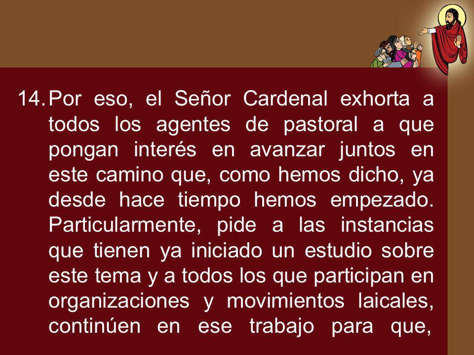 Por eso, el Señor Cardenal exhorta a todos los agentes de pastoral a que pongan interés en avanzar juntos en este camino que, como hemos dicho, ya desde hace tiempo hemos empezado.