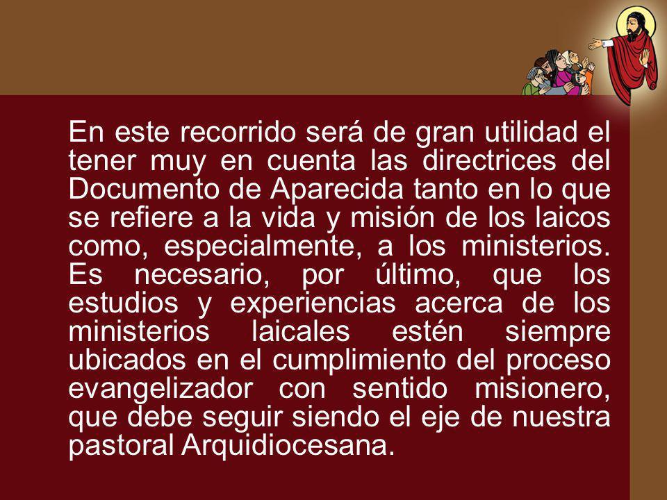 En este recorrido será de gran utilidad el tener muy en cuenta las directrices del Documento de Aparecida tanto en lo que se refiere a la vida y misión de los laicos como, especialmente, a los ministerios.